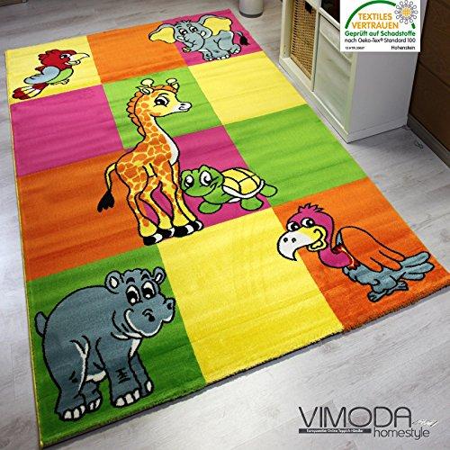 Kinderteppich Modern Zoo Kinder Teppich Giraffe Elefant in Bunte Farben - ÖKO TEX Zertifiziert, Pflegeleicht und Strapazierfähig, VIMODA; Maße: 160x230cm