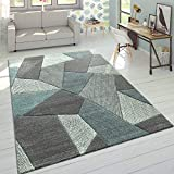 Paco Home Designer Teppich Moderner Konturenschnitt Trendige Cord Optik Pastell Grau Türkis, Grösse:80x150 cm