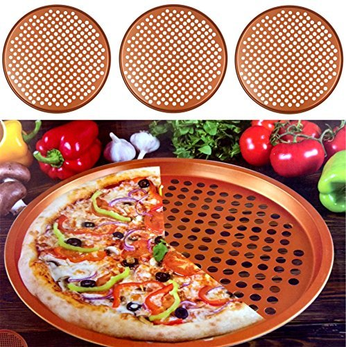 "Gr8 Home Set Of 3 Copper 13"" Pizza Baking Oven Tray Large Round Non-stick Serving Chip Pan Cooking Dish Plate Kitchen Ovenware Cookware Bakeware"