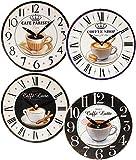 """1 Stück _ Wanduhr - """" Kaffee Motiv """" - aus Holz / Ø 30 cm groß - schleichendes Uhrwerk ! - Uhr - Analog - Holzuhr / für Kinderuhr - Wohnzimmer & Kinderzimmer - für Erwachsene - Jungen Mädchen Kinder - Kaffeemotiv - Retro Shabby Chic - Männeruhr / Männer - schleichende Sekunde - Espresso / Kaffeetasse - Küchenuhr / Holzwanduhr Caffee - Cappuccino"""