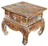 Unbekannt Holz Nachttisch Opiumtisch Telefontisch Beistelltisch hell Lotos bunt Tisch 13
