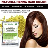 Light Brown Henna Hair Color – 100% Organic and Chemical Free Henna for Hair Color Hair Care - (180 Gram = 3 Packets)
