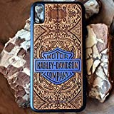 Custodia in legno per Apple iPhone X/XS Max/XR / 8/7 Plus y Samsung Galaxy S9 / S8 / Note 9/8 Cover rigida - Protezione per cellulare Case Design legno di ciliegio Harley Davidson