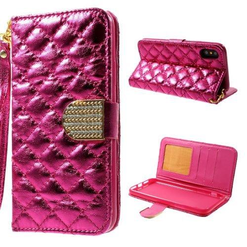 jbTec® Flip Case Handy-Hülle zu Apple iPhone X - BOOK MUSTER RHOMB - Handy-Tasche, Schutz-Hülle, Cover, Handyhülle, Ständer, Bookstyle, Booklet, Farbe:Rot Pink