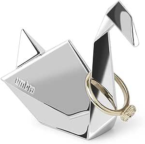 Range bagues en m/étal chrom/é UMBRA Bird Origami en forme d/'animal dimension environ 7.5x6.5x3.2cm. Porte bagues oiseau Origami