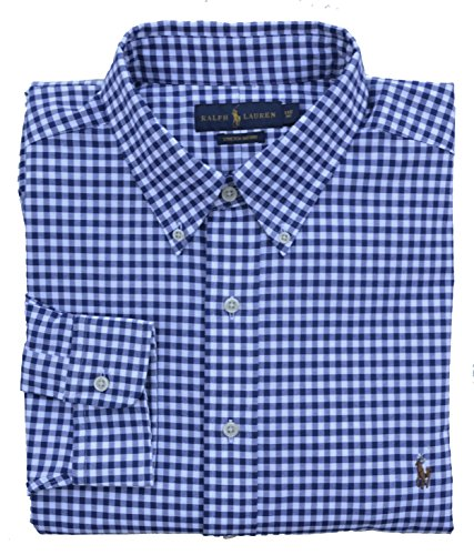 Ralph Lauren Big & Tall Hemd Button Down Oxford Stretch Blau Weiß Kariert (1XB) (Big Hemd Oxford And Tall)