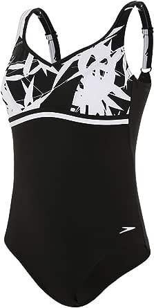 40 EU Black//Windsor Blue//Hot Orange Speedo Womens Contourluxe Printed Swimsuit 14//36 UK