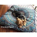 Funda de almohada cuadrada con mandala de elefantes de la India, réplica de puf otomano de gran tamaño para almohadón de suelo, sofá o gran cama para perros (89 x 89 cm)
