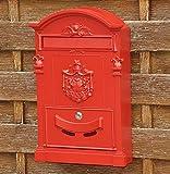 nanook Briefkasten Wandbriefkasten Nostalgie - Stahl pulverbeschichtet, Gusseisen Optik Höhe 46,5 cm, Farbe: rot