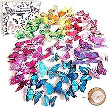Goodlucky365 72 Piezas 3D Mariposa Pegatinas de Pared Etiquetas Engomadas Mariposas Decoración de la Pared Para Hogar Casa Habitación (12 Azules,12 Púrpuras,12 Verdes,12 Amarillos,12 Rosas,12