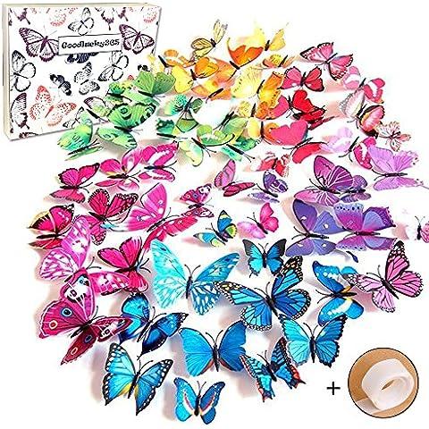 Goodlucky365® 72 Pezzi Farfalle 3d Farete Misura Grande Adesiv da Parete 3d con Farfalle 12 Pezzi blu +12 Pezzi giallo +12 Pezzi verde +12 Pezzi viola decorazioni a farfalla in plastica, decorazione da parete - Rosa Magnete Nastro Rosa