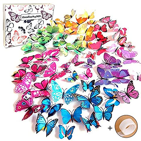 Goodlucky365 72 PCS 3d Butterfly Wall Stickers Decals Butterfly Magnets ,12pcs Blue 12pcs Purple 12pcs Green 12pcs Yellow 12pcs Pink 12pcs Red,Durable Plastic Butterfly Decorations,wall Decor - Piccolo Farfalla Della Decorazione Della Parete