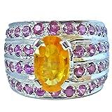 Surat Diamonds 4.84ct Wide Oval Golden Topaz & Pink Garnet Silver Cocktail Ring for Women