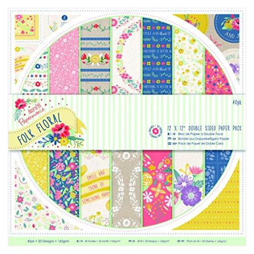 Papermania - Confezione di carta double-face, 30,5 x 30,5 cm, motivo floreale folk, 40 fogli