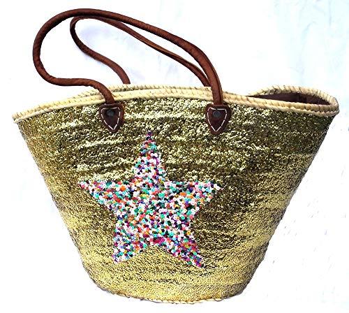 Asiartis Ibiza Strandtasche, Korbtasche mit goldenen Pailletten & multicolour Stern verziert mit Lederriemen -