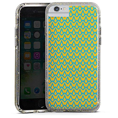 Apple iPhone 7 Bumper Hülle Bumper Case Glitzer Hülle Muster Pattern Blau Bumper Case Glitzer gold