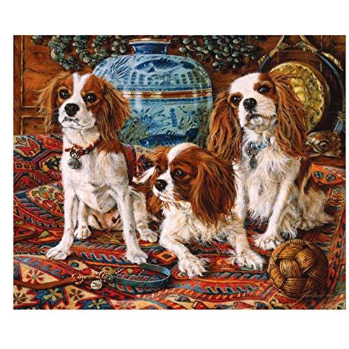 CNLSZM Voll Runde 5D DIY Mosaik Decke Cavalier King Charles Spaniel Diamant Malerei Kreuzstich Diamant Stickerei Hund Pet-30x40 cm
