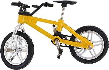 Segolike Stylish Finger Mountain Bike Miniature Metal Bicycle Model Creative Game for Children Kids Gift - yellow