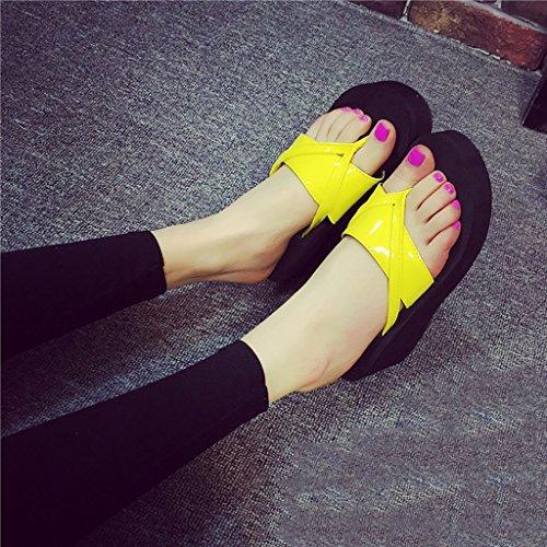 PENGFEI sandali delle donne Flip-flops estivi Pantofole femminili da spiaggia Flip flop antiscivolo Pendenza con pantofole fredde Confortevole e traspirante ( Colore : Viola , dimensioni : EU37/UK4.5- Giallo