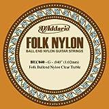 D\'Addario Corde seule en nylon pour guitare folk D\'Addario BEC040, nylon translucide, extrémité à boule, .040