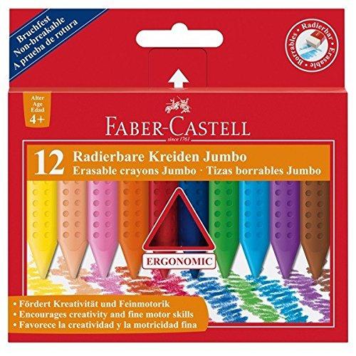 Faber Castell 122540 - radierbare Kreide Jumbo Grip, 12 Stück im Etui
