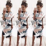 - 61IL5o12HZL - ECOWISH Sommerkleider Damen Kurzarm V-Ausschnitt Strand Blumen Kleider Abendkleid Knielang