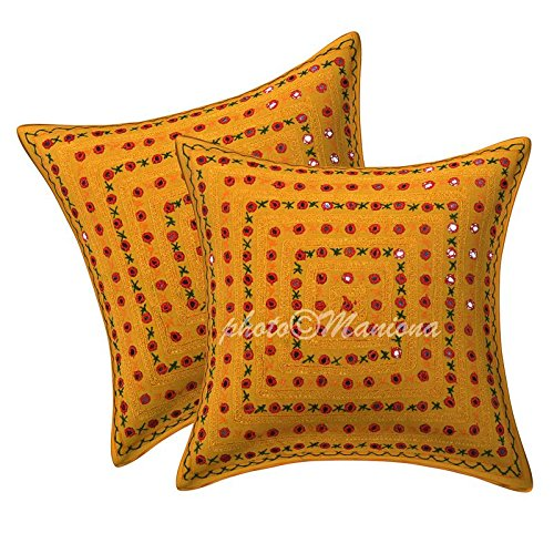 Senf Gelb Spiegel bestickt dekorativer Sofaüberwurf Kissen Kissenbezug indischen Bohemian Set von 2