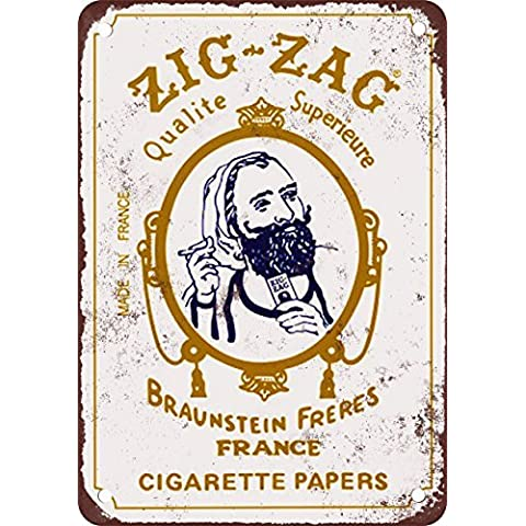 Zig Zag cartine per sigarette stile vintage Riproduzione in metallo Tin Sign 30,5x 45,7cm
