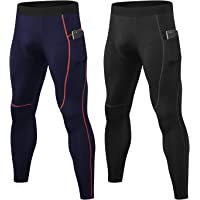 LANBAOSI 2 Pack Mens Compression Leggings with Pockets Cool Dry Gym Workout Running Tights