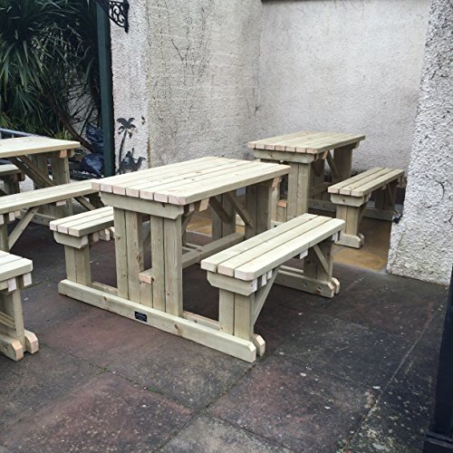 HEAVY DUTY 5FT (150CM) GARDEN BENCH, WALK IN PUB PICNIC TABLE, HAND MADE WITH PRESSURE TREATED TIMBER, IN VARIOUS SIZES