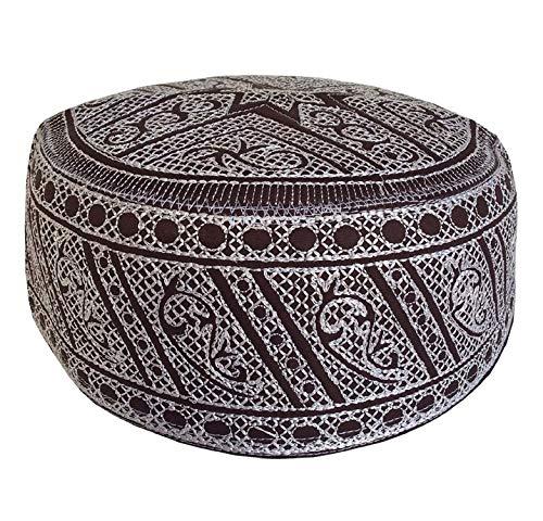 Kufi Designer Herren Cap Koofi Solid Hat Namaz Topi Muslim Gebetsmütze Gr. 61 cm, Braun/Weiß (Muslim-skull-cap)