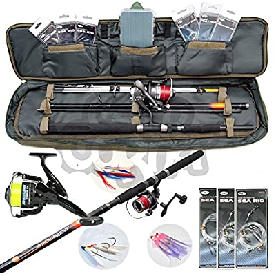Sea Fishing Travel Set Up 4 Piece Rod & Reel With Deluxe Case Carryall + Tackle from Carp Corner