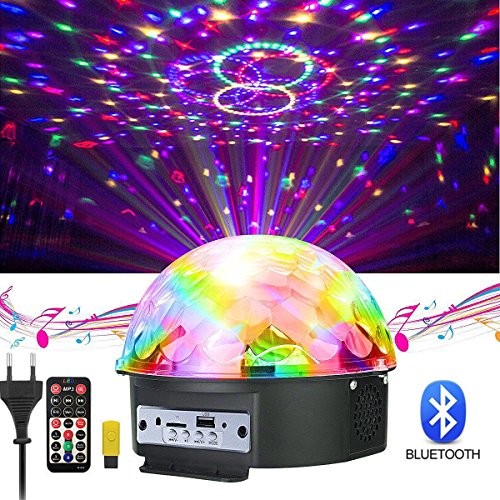 Discokugel, GUSODOR LED Lichteffekte Bluetooth MP3 Musik Player RGB Sprachaktiviertes Kristall Magic Ball Bühnentechnik für Show Disco KTV Stab Stadium Club Hochzeit Geburtstag