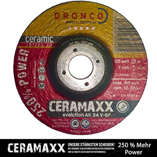 Osborn Dronco 3117561100Evolution AK 24V ceramaxx Schruppscheibe Metall, Edelstahl, 115mm Durchmesser x 7mm Dicke X 22,23mm loch Durchmesser, 13280U/min (10Stück)
