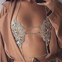 Sethain Catena del corpo Reggiseno di cristallo Oro Catene di strass Superiore Accessori per il corpo Gioielli per donne…