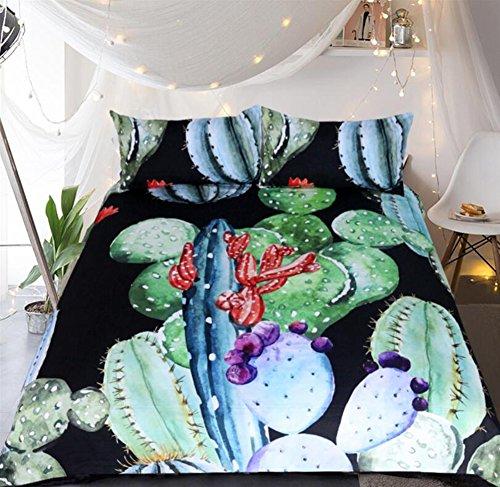 WFH Bettwäsche Heimtextilien Quilt Suite Kaktus, 3 Stück Reversible Polyester Bettbezug Set Enthält 1X Bettbezug - 2X Kissenbezug,Twin173cmx218cm