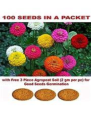 Kraft Seeds Gate Garden Zinnia Flower Seeds with 3 Piece Agropeat Soil for Germination (Multicolour)