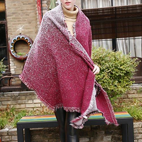 Poncho da Donna Scialle, Cardigan a Maglia Donna, Moon mood® Inverno Tartan Mantello Reversibile Donna Maglione Cappotto Grandi Coperta Sciarpa Casuale Elegante Spessore Scialli Double Face Stile 10