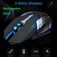 Voberry Gaming Mouse, Rechargeable X7 Wireless Silent Led Backlit USB Optical Ergonomic Gaming Mouse 118 x 81 x 28mm Black