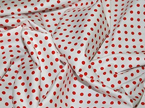 Rot Polka Dot Baumwolle Kleid (Rot Weiß 7mm Polka Dot Baumwolle Popeline Kleid Stoff-Pro Meter)