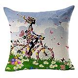 Sannysis® - Fundas para cojines del sofá en estilo vintage de algodón con estampado floral (verde)
