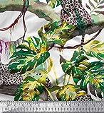 Soimoi Grun Baumwolle Ente Stoff Tropische Blätter, Zweige