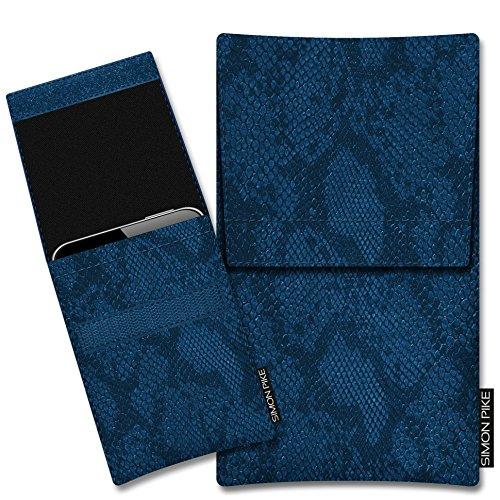 SIMON PIKE Kazam Thunder 345 LTE Kunstleder Tasche Sidney 01 in blau Schlange Kunstleder, maßgefertigt