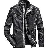 Muzboo Men's Faux Leather Jacket Winter Warm Motorcycle Jacket