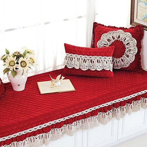 ker Kissen,Fenster-fensterbank-Matte Schlafzimmer Balkon Matte Schwamm Tatami Sitzkissen Erker Teppich-Rot 70x150cm(28x59inch) ()