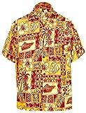 LA LEELA männer Hawaiihemd Kurzarm Button Down Kragen Fronttasche Beach Strand Hemd Manner Urlaub Casual Herren Aloha rot_511 3XL Likre 1907