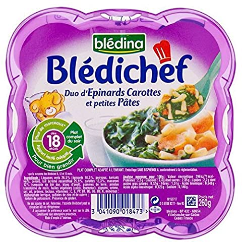 Bledina Chef Duo von Spinat Karotten & Mini Pasta (18 Monate) 260g