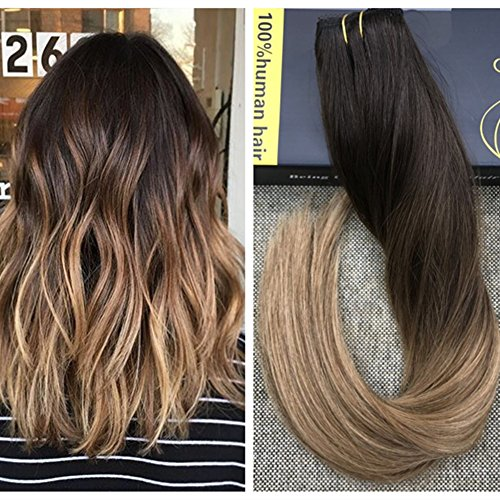 "Ugeat 20"" #2/6/12 Balayage Brun Remy Echthaar Extensions Clip in 100% Naturlich One Piece Clip in Dip Dye Hair Extensions mit 5 Clips 50g"