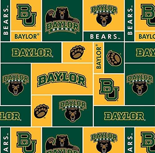 College University of Baylor Bears Fleece Fabric Print By the Yard by Field's Fabrics Baylor University Bears