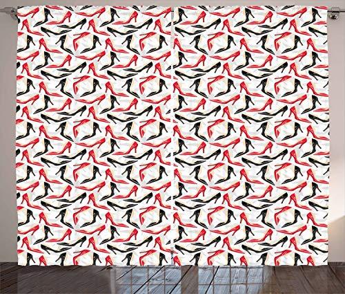 ABAKUHAUS Rot und Schwarz Rustikaler Gardine, Stiletto Schuhe, Schlafzimmer Kräuselband Vorhang mit Schlaufen und Haken, 280 x 175 cm, Scharlachrot Beige Schwarz